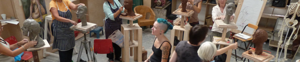 Hazel Reeves teaching portrait sculpture