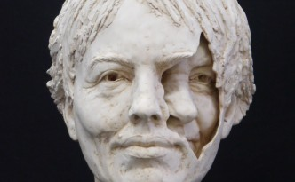 Mum/me II - sculpture by Hazel Reeves, cast in plaster
