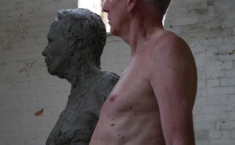 Clay Gresley sculpture with model Barry McGerr