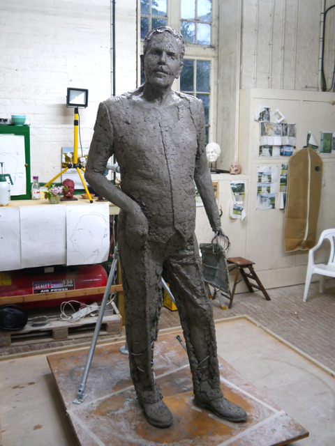 Gresley statue, adding the waistcoat and trousers