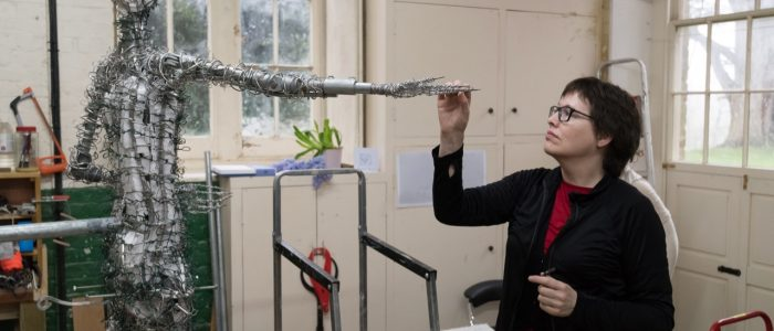 Hazel Reeves with Our Emmeline armature - photo by Nigel Kingston