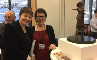 Caroline Lucas MP with sculptor Hazel Reeves