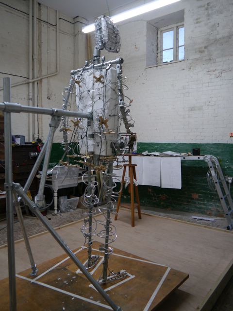 Back view of the completed armature for the Gresley statue