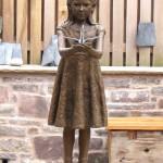 The installed bronze sculpture of Sadako - by Hazel Reeves