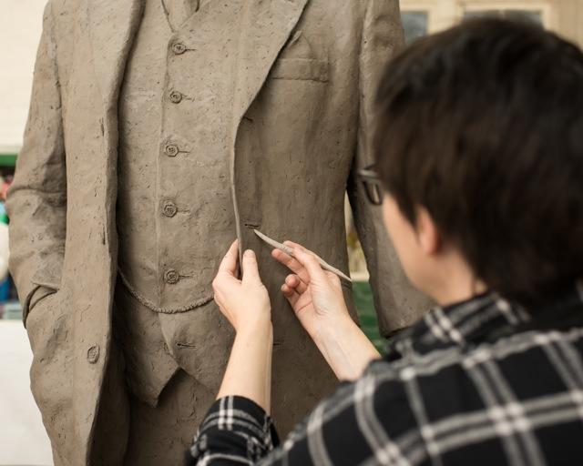Hazel Reeves sculpting Gresley Statue