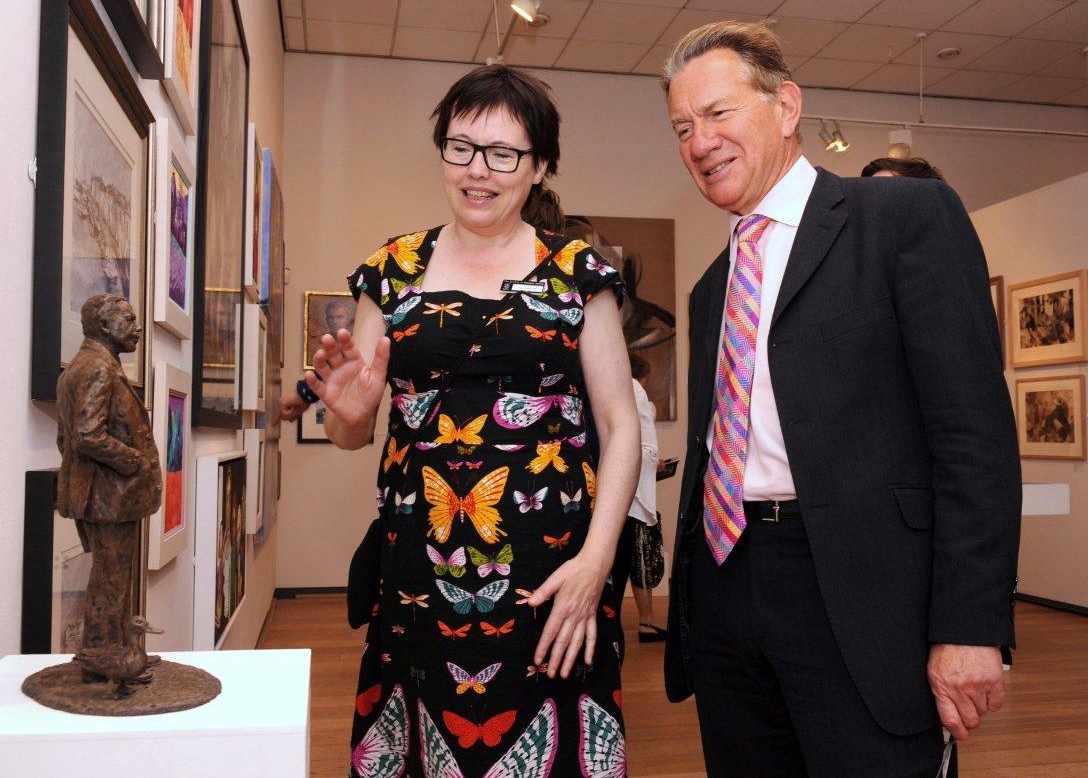 Hazel with Michael Portillo and the Gresley maquette at the Society of Women Artists' exhibition