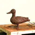 Mallard duck clay sculpture - by Hazel Reeves