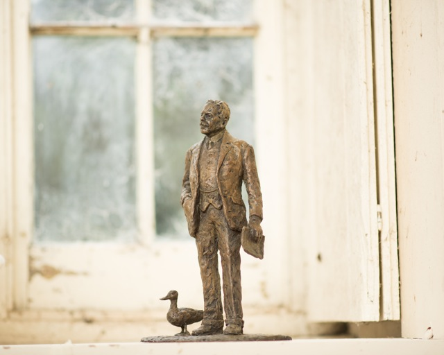 Bronze maquette of Sir Nigel Gresley, in Hazel Reeves' studio (photo by Andy Fallon)