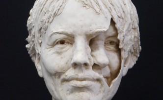 Mum/me II - sculpture by Hazel Reeves, cast in plaster