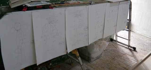 Scaling-up drawings for the Gresley statue - sculpture by Hazel Reeves