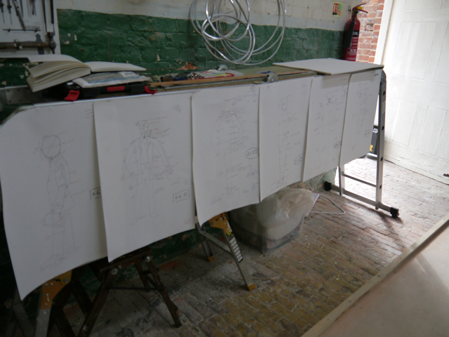 Scaling-up drawings for the Gresley statue
