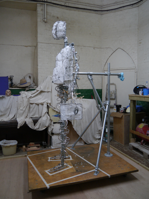 Side view of the completed armature of the Gresley statue