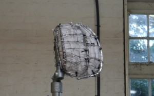 Side view of the head armature of the Gresley statue