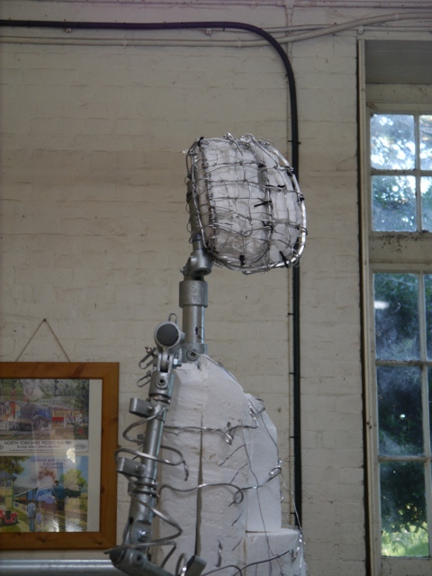 Side view of the upper armature of the Gresley statue by Hazel Reeves