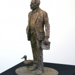 The bronze Sir Nigel Gresley maquette - sculpture by Hazel Reeves