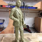 Working on the Gresley maquette in wax - by Hazel Reeves