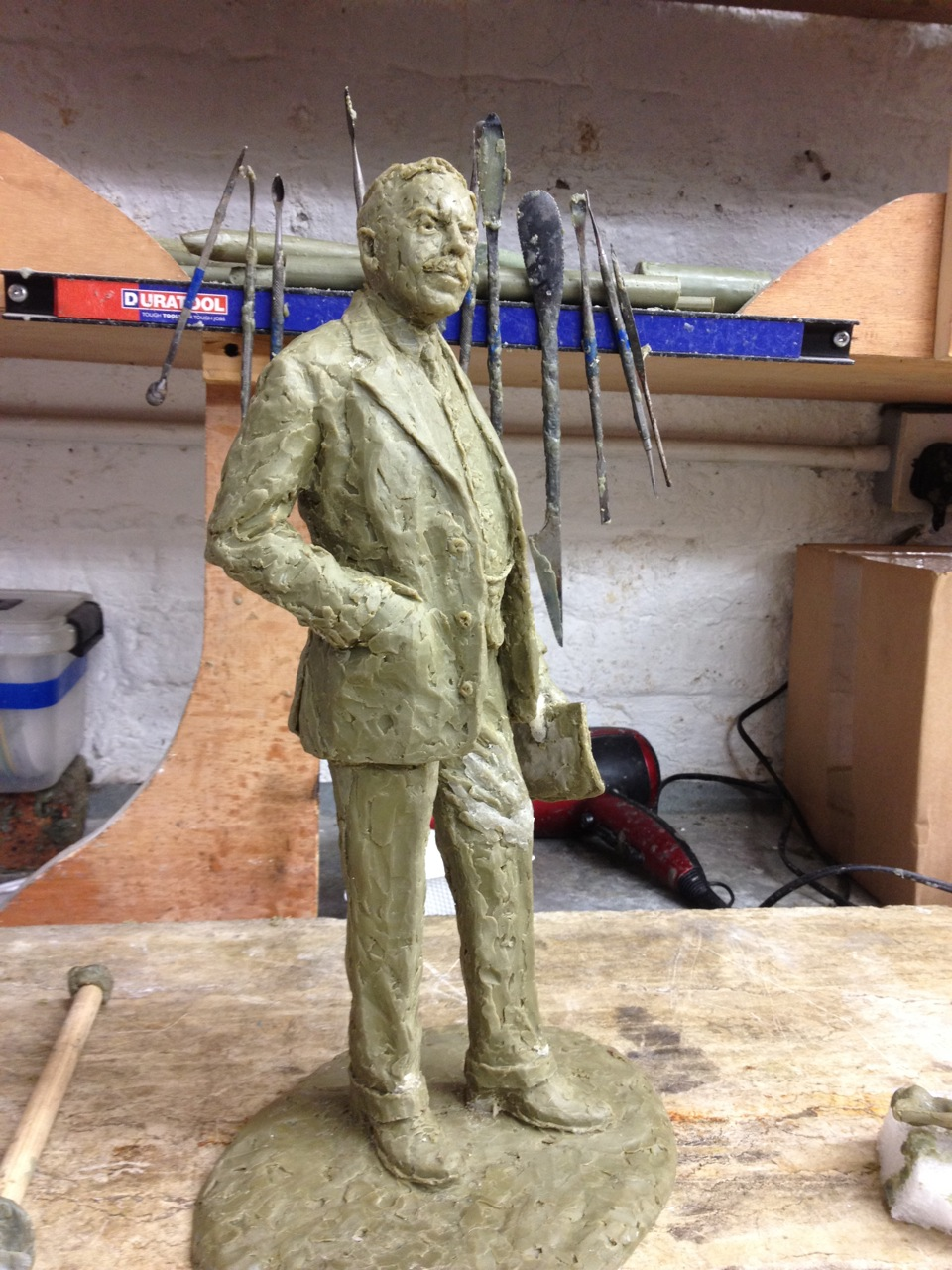 Working on the Gresley maquette in wax