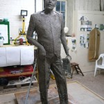 Gresley statue, adding the clothing - by Hazel Reeves
