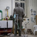 Gresley statue, adding the jacket - by Hazel Reeves