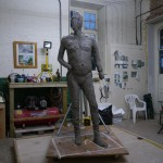 Gresley statue - covering the armature, by Hazel Reeves