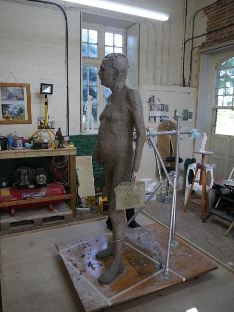 Gresley statue in clay - work-in-progress