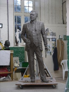 Gresley statue, adding the clothing