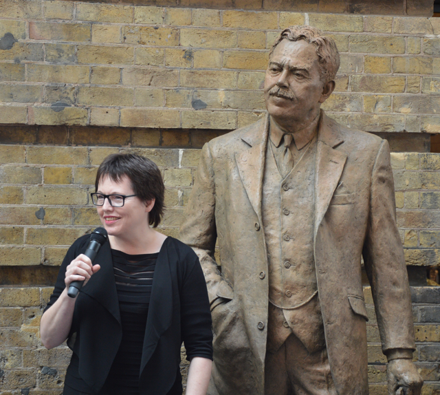 Hazel Reeves with her Gresley Statue at King's Cross