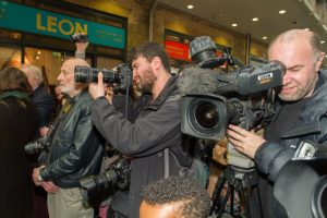 Media scrum at the Gresley Statue unveiling - photo by Steve Roberts