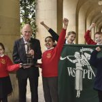 Andrew Simcock, Fatima Shahid & pupils from Newall Green Primary School