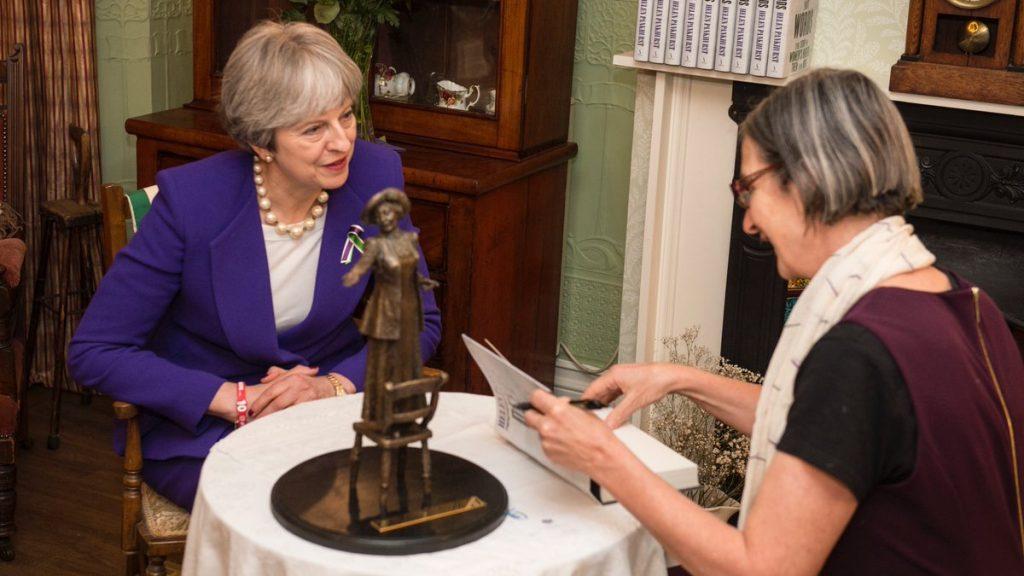 Helen Pankhurst, Emmeline Pankhurst & Theresa May a