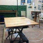 Varnished ply ready for bolting on to hydraulic table