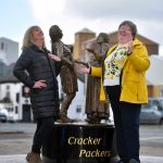 Dot Reynolds and Jane Davey from pladis adopt the pose that inspired the statue  - photo Stuart Walker