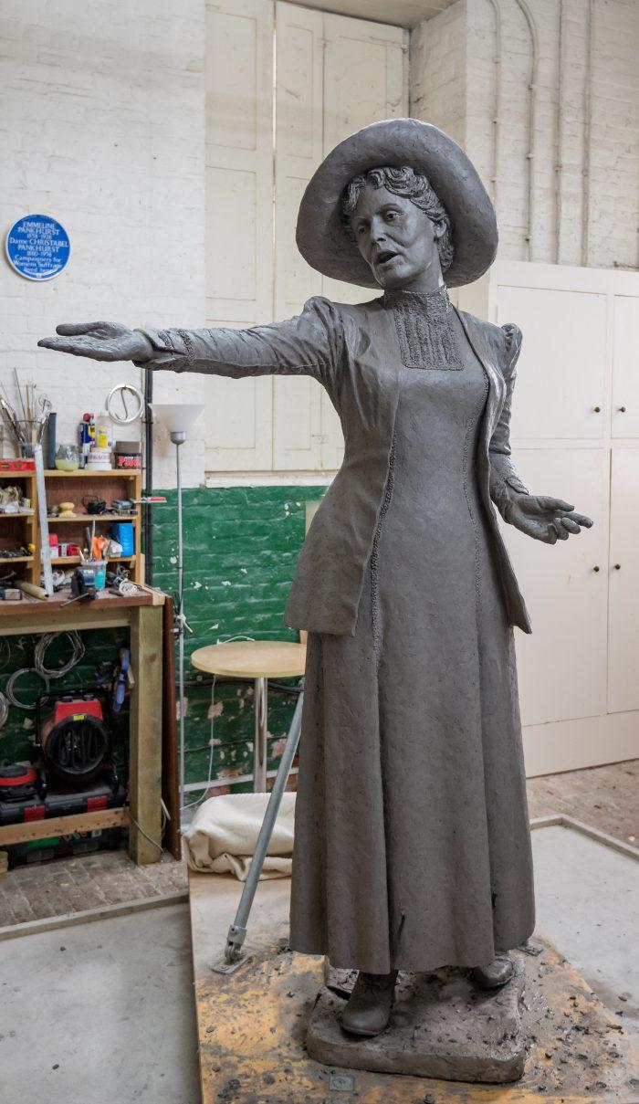 Photo of the final Emmeline Pankhurst sculpture in clay by Hazel Reeves, photo Nigel Kingston