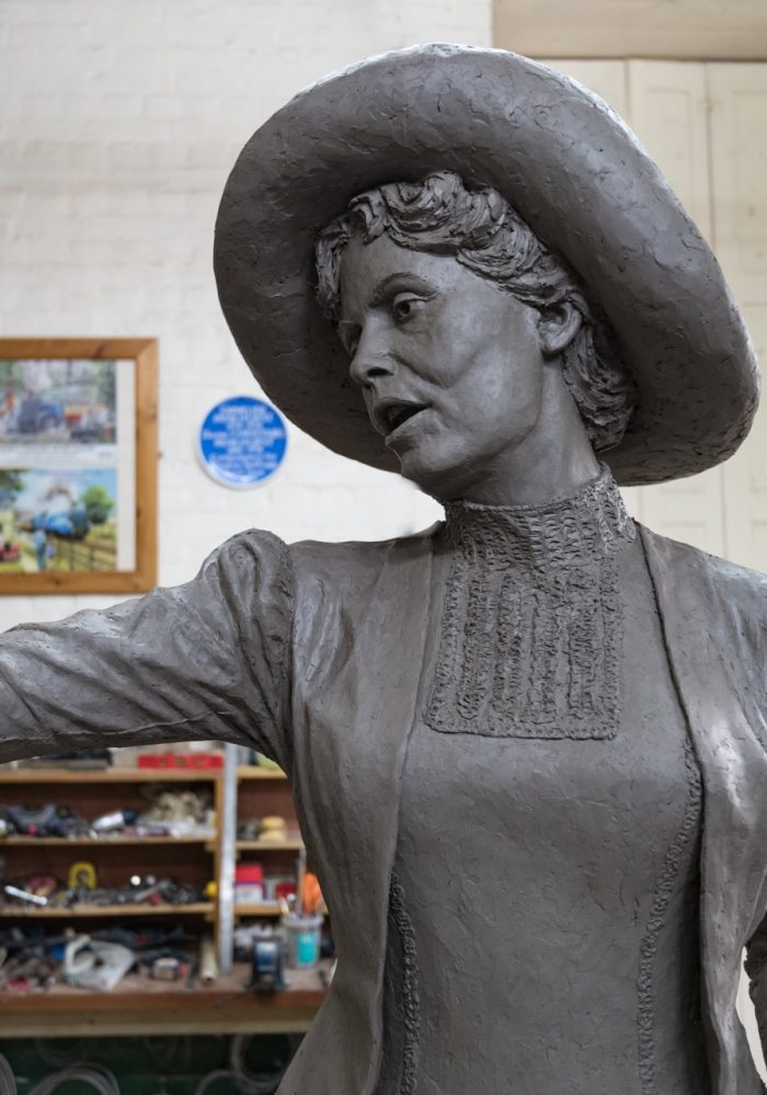 Photo of Pankhurst sculpture in clay by Hazel Reeves, photo Nigel Kingston