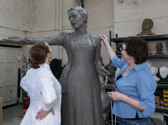 Hazel Reeves with Emmeline Pankhurst - photo by Nigel Kingston