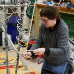 Hazel Reeves working on her Emmeline armature - photo by Mark Longworth
