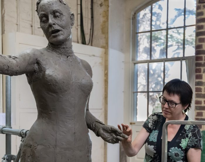 Hazel with the clay Our Emmeline - photo by Nigel Kingston