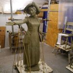 Our Emmeline in wax at Bronze Age foundry - photo by Hazel Reeves