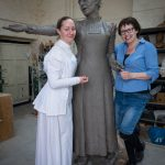 Sarah Jenkins and Sculptor Hazel Reeves with Emmeline Pankhurst - photo by Nigel Kingston