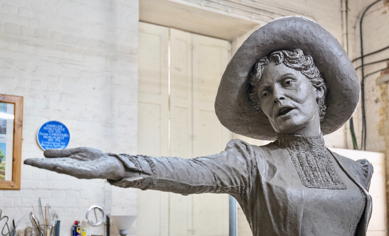 The final clay Our Emmeline - sculpture by Hazel Reeves and photo by Nigel Kingston