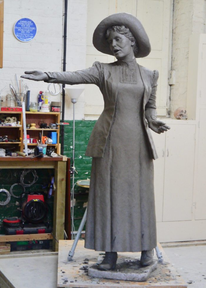 Final clay of Emmeline Pankhurst by Hazel Reeves, photo by Hazel Reeves