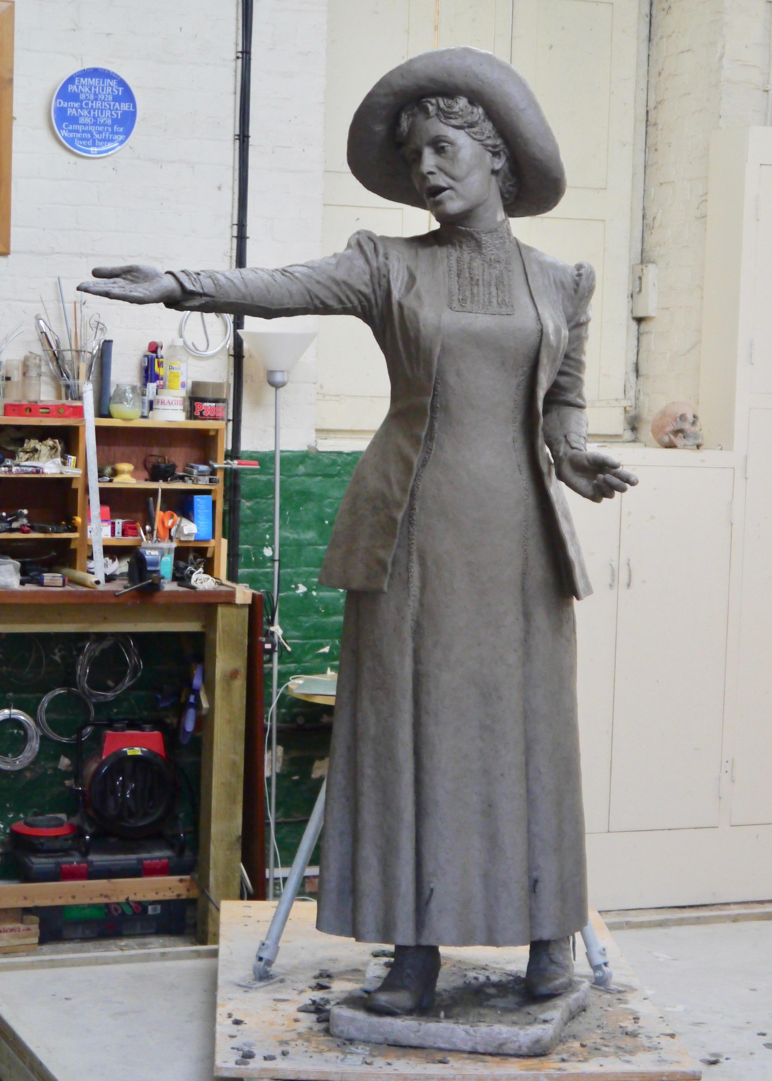 Final clay of Emmeline Pankhurst by Hazel Reeves, photo by Hazel Reeves
