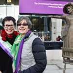 Hazel Reeves sculptor and Helen Pankhurst with Our Emmeline - photo credit Our Emmeline