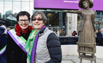 Hazel Reeves sculptor and Helen Pankhurst with Our Emmeline