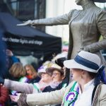 Todays Suffragettes being photographed with Our Emmeline - photo by Our Emmeline