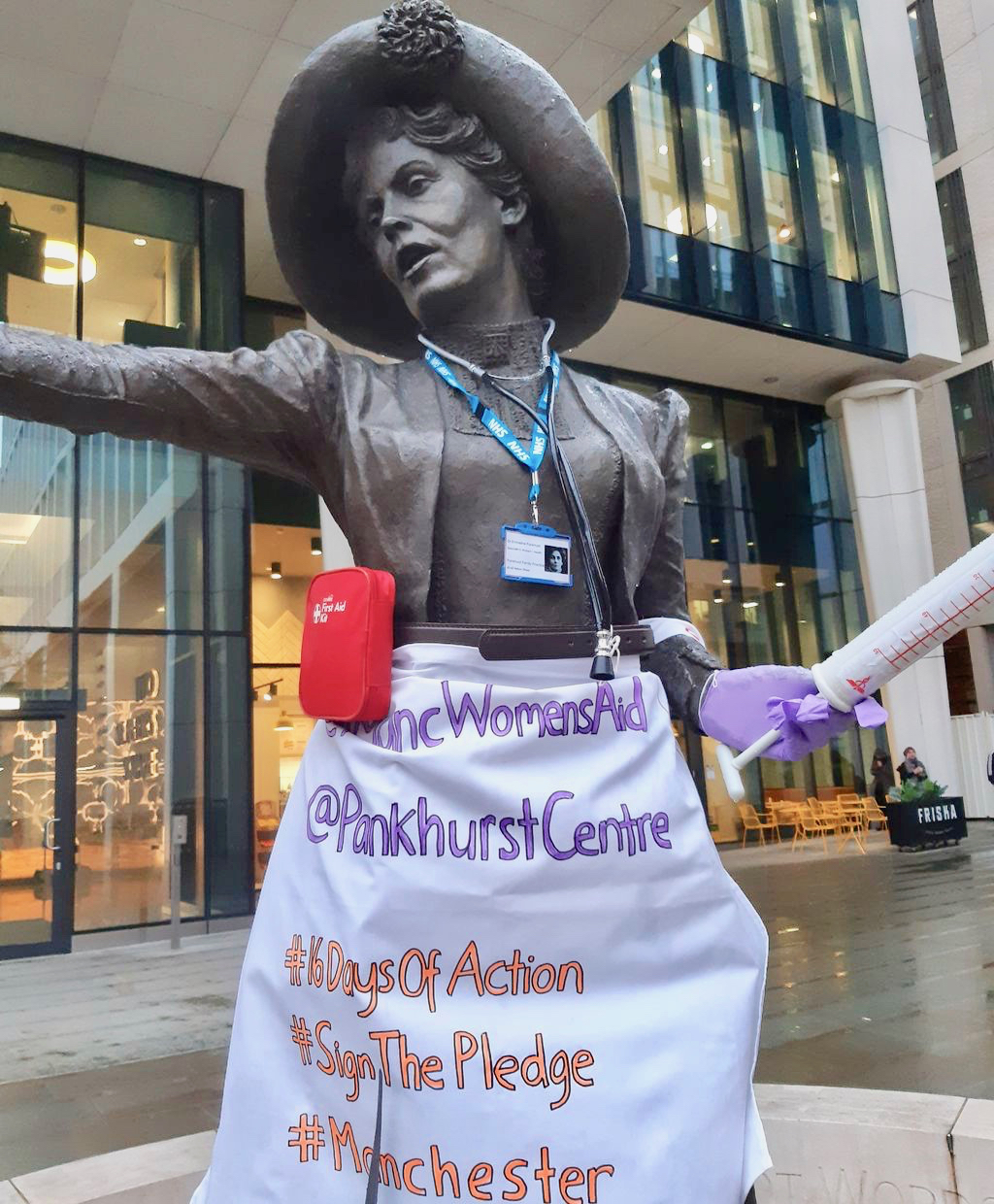 Our Emmeline statue dressed as a GP to publicise 16 Days of Action Against Violence Against women