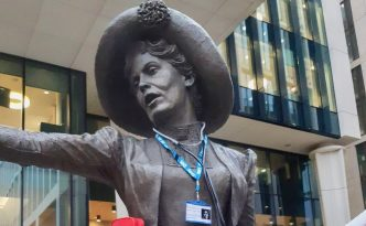 Our Emmeline statue is dressed up to promote 16 days of action against domestic abuse