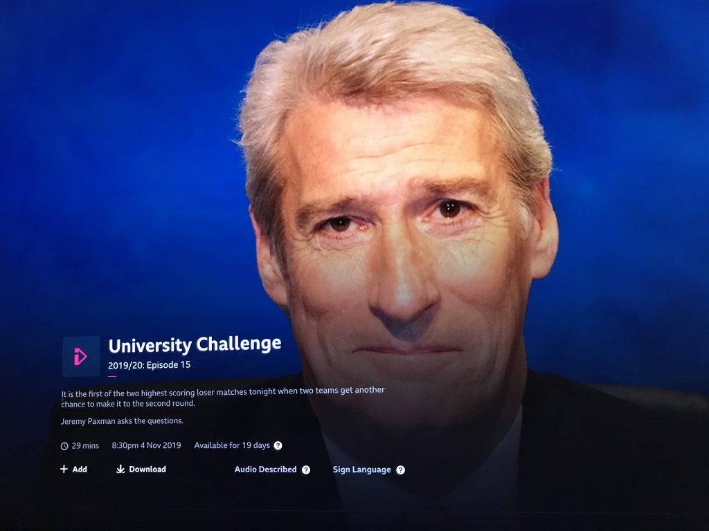 Jeremy Paxman on University Challenge