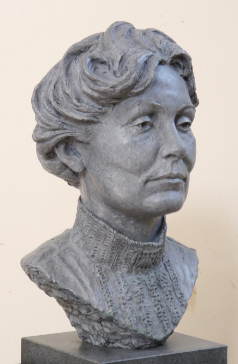 Emmeline Pankhurst portrait sculpture in bronze - by Hazel Reeves
