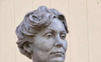 Portrait head of Emmeline Pankhurst by Hazel Reeves